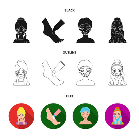 Face care, plastic surgery, face wiping, moisturizing the feet. Skin Care set collection icons in black,flat,outline style vector symbol stock illustration web.
