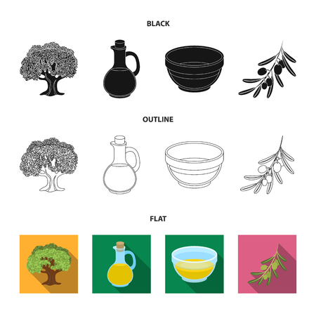 An olive tree, a branch with olives, a vessel and a jug of oil. Olives set collection icons in black,flat,outline style vector symbol stock illustration .