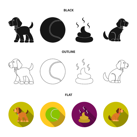 Dog sitting, dog standing, tennis ball, feces. Dog set collection icons in black, flat, outline style vector symbol stock illustration. Çizim