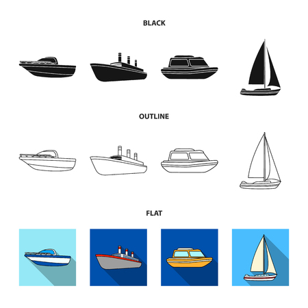 Protection boat, lifeboat, cargo steamer, sports yacht.Ships and water transport set collection icons in black,flat,outline style vector symbol stock illustration web.