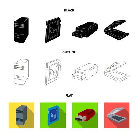 A system unit, a flash drive, a scanner and a SD card. Personal computer set collection icons in black,flat,outline style vector symbol stock illustration web.