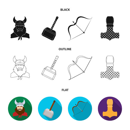 Viking in helmet with horns, mace, bow with arrow, treasure. Vikings set collection icons in black,flat,outline style vector symbol stock illustration .