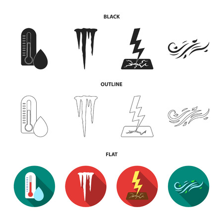 Humidity, icicles, thunderbolt, windy weather. Weather set collection icons in black,flat,outline style vector symbol stock illustration .