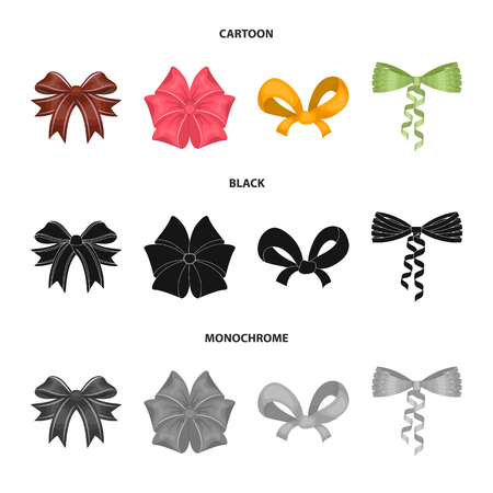 Bow, ribbon, decoration, and other icon in cartoon, black, monochrome style. Gift, bows node icons in set collection.