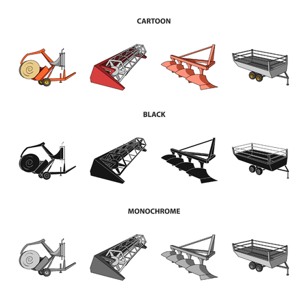 Plow, combine thresher, trailer and other agricultural devices. Agricultural machinery set collection icons in cartoon,black,monochrome style vector symbol stock illustration web.