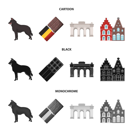 Chocolate, cathedral and other symbols of the country.Belgium set collection icons in cartoon,black,monochrome style vector symbol stock illustration web. Illustration