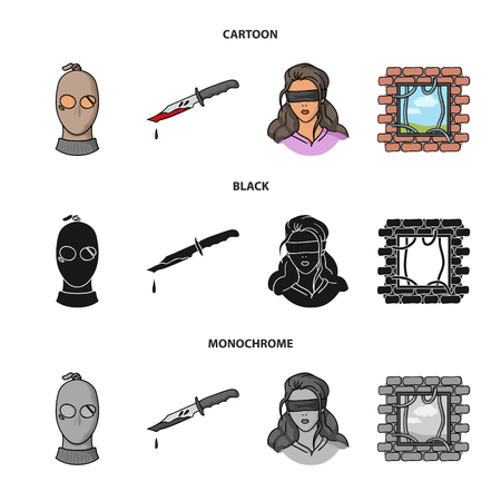 A thief in a mask, a bloody knife, a hostage, an escape from prison.Crime set collection icons in cartoon,black,monochrome style vector symbol stock illustration .