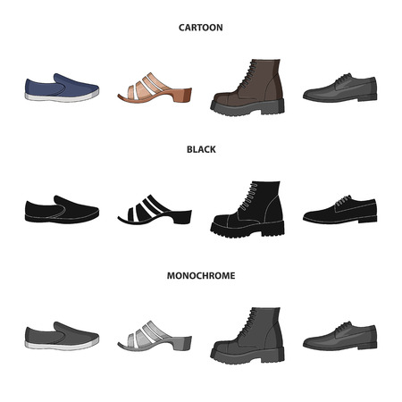 A set of icons on a variety of shoes.Different shoes single icon in cartoon,black,monochrome style vector web symbol stock illustration.