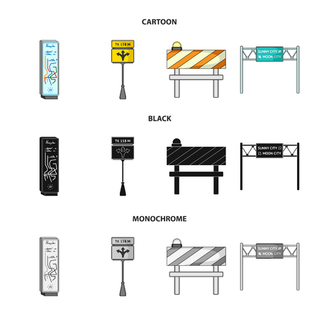 Stands and signs and other web icon in cartoon,black,monochrome style.Limiters of traffic icons in set collection.