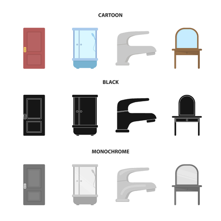 Door, shower cubicle, mirror with drawers, faucet.Furniture set collection icons in cartoon,black,monochrome style vector symbol stock illustration web.
