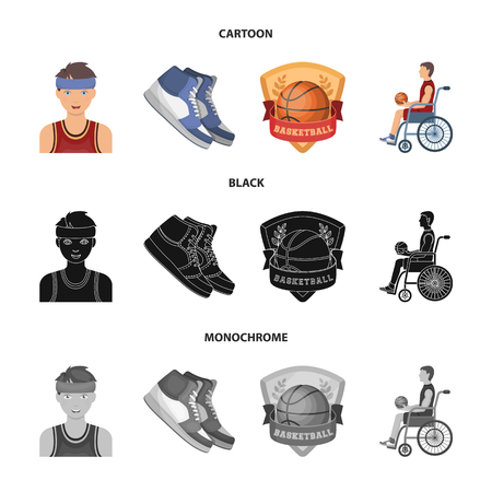 Basketball and attributes cartoon,black,monochrome icons in set collection for design.Basketball player and equipment vector symbol stock web illustration.