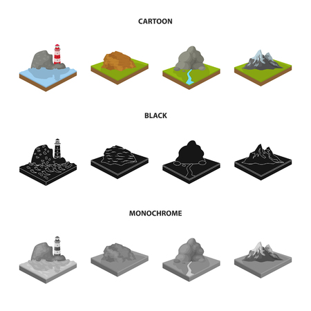 Mountains, rocks and landscape. Relief and mountains set collection icons in cartoon,black,monochrome style isometric vector symbol stock illustration web.