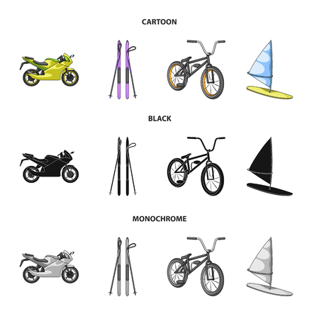 Motorcycle, mountain skiing, biking, surfing with a sail.Extreme sport set collection icons in cartoon,black,monochrome style vector symbol stock illustration web. Ilustracja