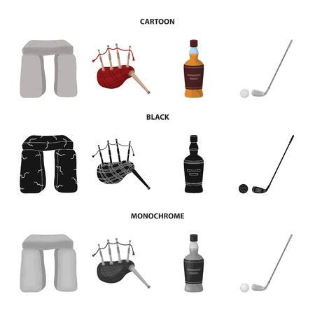 Stone monument, bagpipe, whiskey, golf. Scotland country set collection icons in cartoon,black,monochrome style vector symbol stock illustration web.