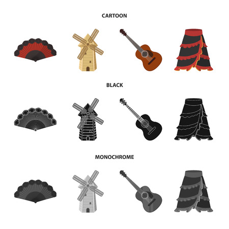 Fan Spanish, mill, guitar, skirt for national Spanish dances. Spain country set collection icons in cartoon,black,monochrome style vector symbol stock illustration web. Vectores