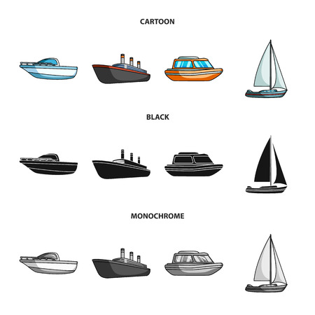 Protection boat, lifeboat, cargo steamer, sports yacht.Ships and water transport set collection icons in cartoon,black,monochrome style vector symbol stock illustration web.