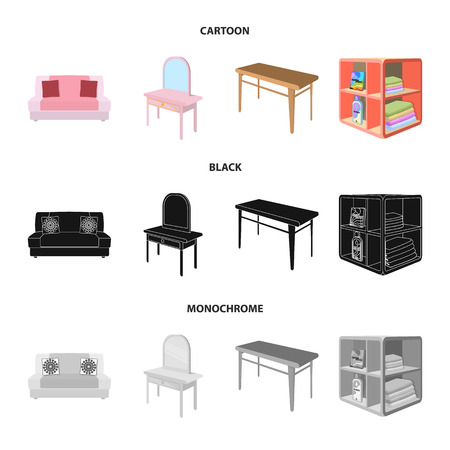 Soft sofa, toilet make-up table, dining table, shelving for laundry and detergent. Furniture and interior set collection icons in cartoon,black,monochrome style isometric vector symbol stock illustration web.
