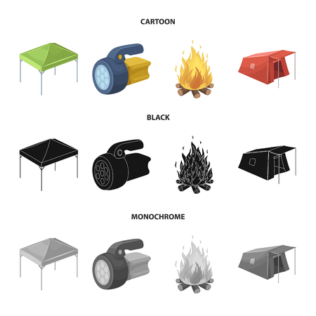 Awning, fire and other tourist equipment.Tent set collection icons in cartoon,black,monochrome style vector symbol stock illustration web. Illustration