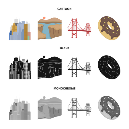 A megacity, a grand canyon, a golden gate bridge,donut with chocolate. The US country set collection icons in cartoon,black,monochrome style vector symbol stock illustration web.