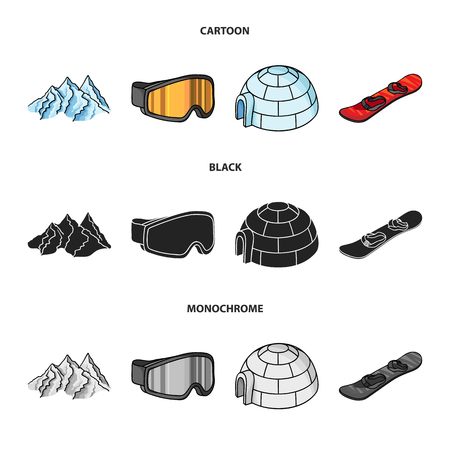 Mountains, goggles, an igloo, a snowboard. Ski resort set collection icons in cartoon,black,monochrome style vector symbol stock illustration web.