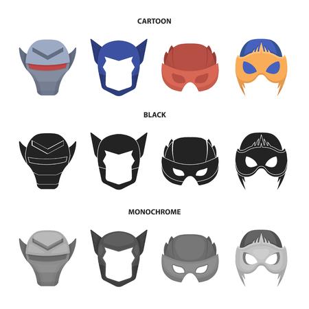 Helmet, mask on the head.Mask super hero set collection icons in cartoon,black,monochrome style vector symbol stock illustration web.