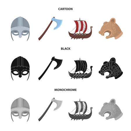 Viking helmet, battle ax, rook on oars with shields, dragon, treasure. Vikings set collection icons in cartoon,black,monochrome style vector symbol stock illustration web. Vettoriali