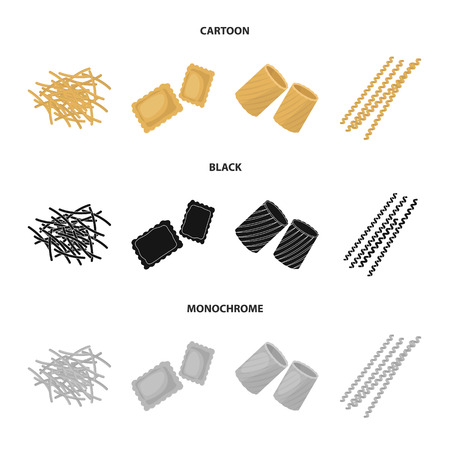 Different types of pasta. Types of pasta set collection icons in cartoon,black,monochrome style vector symbol stock illustration web. Stock Vector - 101256824
