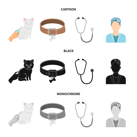 Collar, bone, cat, haircut .Vet Clinic set collection icons in cartoon,black,monochrome style vector symbol stock illustration web.