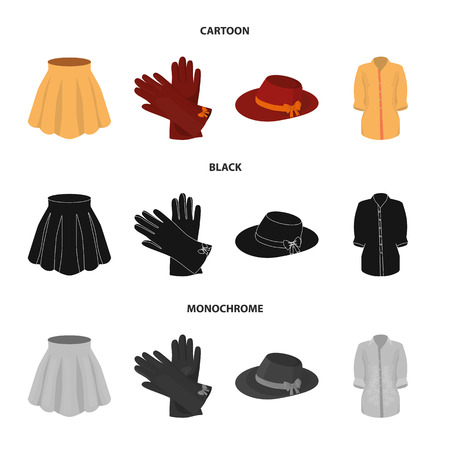 Skirt with folds, leather gloves, women hat with a bow, shirt on the fastener. Women clothing set collection icons in cartoon,black,monochrome style vector symbol stock illustration web. Illustration