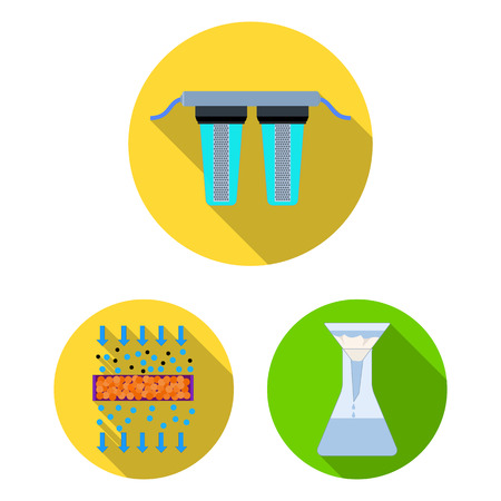 Water filtration system flat icons in set collection for design. Cleaning equipment vector symbol stock illustration.
