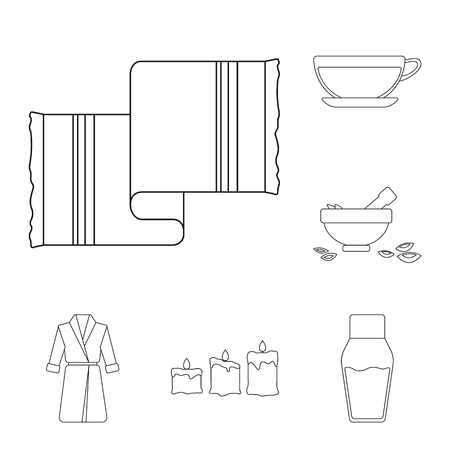 Spa salon and equipment outline icons in set collection for design. Relaxation and rest vector symbol stock illustration. Vecteurs