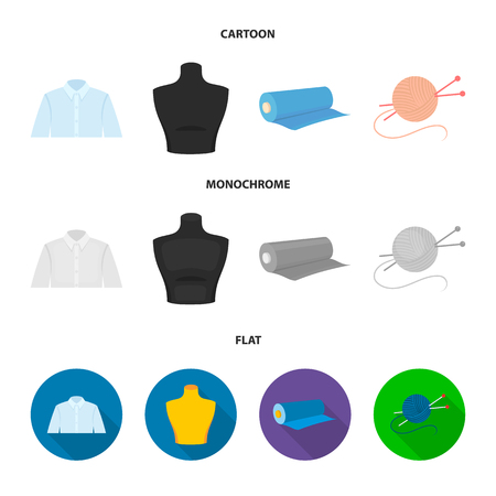 A man shirt, a mannequin, a roll of fabric, a ball of threads and knitting needles.Atelier set collection icons in cartoon,flat,monochrome style vector symbol stock illustration . Illustration