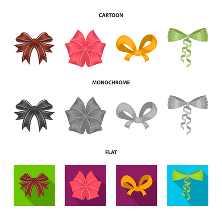 Bow, ribbon, decoration, and other web icon in cartoon,flat,monochrome style. Gift, bows, node, icons in set collection. Vettoriali