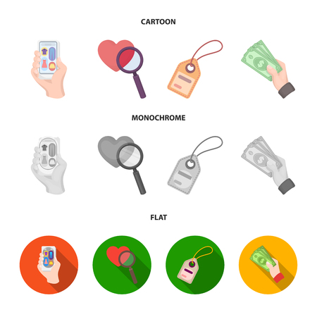 Hand, mobile phone, online store and other equipment. E commerce set collection icons in cartoon,flat,monochrome style vector symbol stock illustration . Illustration