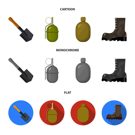 Sapper blade, hand grenade, army flask, soldier boot. Military and army set collection icons in cartoon,flat,monochrome style vector symbol stock illustration .
