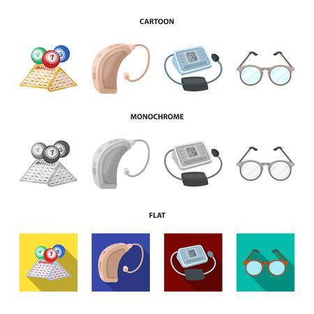 Lotería, audífonos, tonómetro, gafas.La vejez establece los iconos de la colección en cartoon, plano, monocromo estilo vector símbolo stock de ilustración