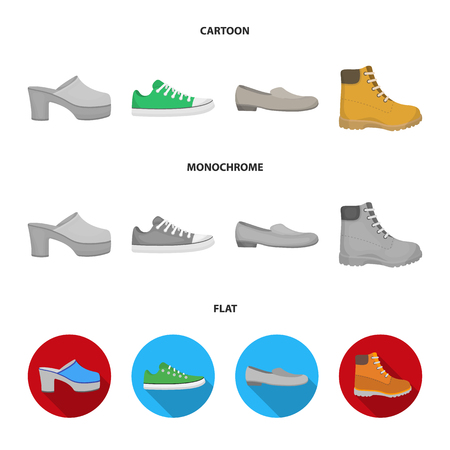 Flip-flops, clogs on a high platform and heel, green sneakers with laces, female gray ballet flats, red shoes on the tractor sole. Shoes set collection icons in cartoon,flat,monochrome style vector symbol stock illustration web.
