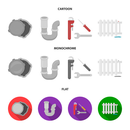 Sewage hatch, tool, radiator.Plumbing set collection icons in cartoon,flat,monochrome style vector symbol stock illustration web.