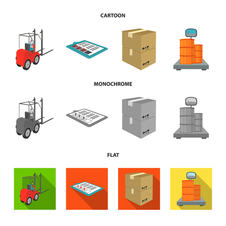 Forklift, delivery slips, packaged goods, cargo on weighing scales. Logistics and delivery set collection icons in cartoon,flat,monochrome style isometric vector symbol stock illustration web.