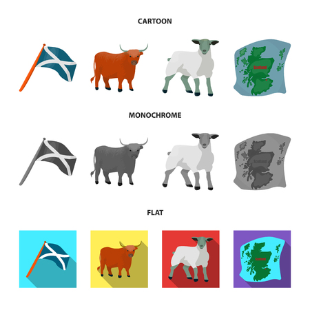 The state flag of Andreev, Scotland, the bull, the sheep, the map of Scotland. Scotland set collection icons in cartoon,flat,monochrome style vector symbol stock illustration web. Çizim