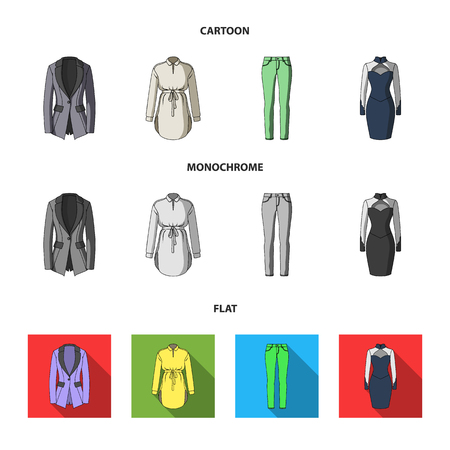 Women Clothing cartoon,flat,monochrome icons in set collection for design.Clothing Varieties and Accessories vector symbol stock web illustration.