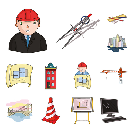Architecture and construction cartoon icons in set collection for design. Architect and equipment vector symbol stock  illustration.