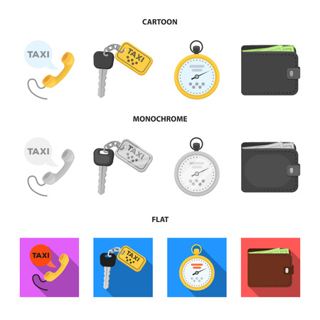 Handset with the inscription of a taxi, car keys with a key fob, a stopwatch with a fare, a purse with money, dollars. Taxi set collection icons in cartoon,flat,monochrome style vector symbol stock illustration web. Illustration