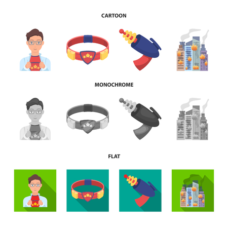 Man, young, glasses, and other web icon in cartoon,flat,monochrome style. Superman, belt, gun icons in set collection. Illustration
