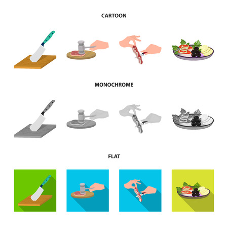 Cutlass on a cutting board, hammer for chops, cooking bacon, eating fish and vegetables. Eating and cooking set collection icons in cartoon,flat,monochrome style vector symbol stock illustration web.
