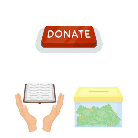 Charity and donation cartoon icons in set collection for design. Material aid vector symbol stock web illustration.