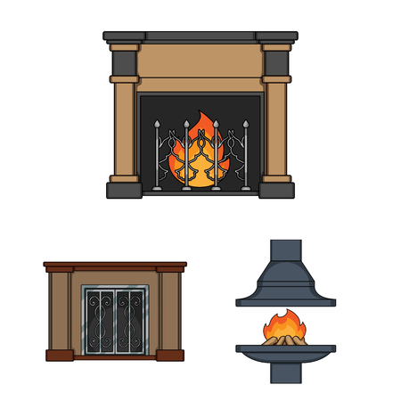 Different kinds of fireplaces cartoon icons in set collection for design.Fireplaces construction vector symbol stock web illustration.