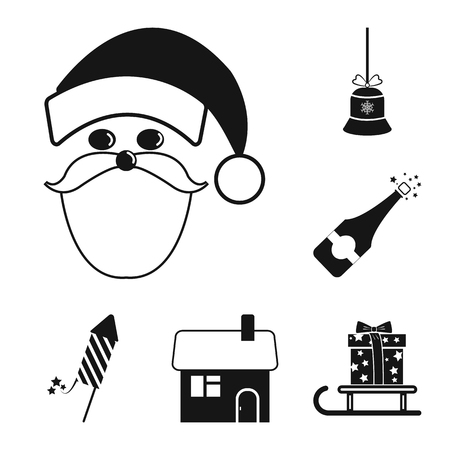 Christmas attributes and accessories black icons in set collection for design. Merry Christmas vector symbol stock web illustration. Иллюстрация
