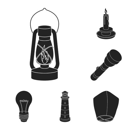Light source black icons in set collection for design. Light and equipment vector symbol stock web illustration.