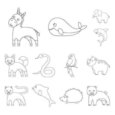 An unrealistic animal outline icons in set collection for design. Toy animals vector symbol stock web illustration. Illustration